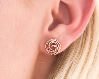 Rose Gold Stud Earrings, Rose Gold Wire Earrings, Rose Gold Earrings, Gold Rose Earrings