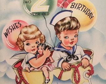 Vintage Birthday Card Two Year Old Sailor NOS Unused WWll Era