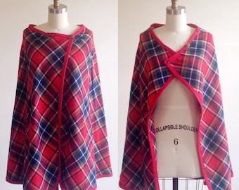 Plaid cape- Wool cape- Fall cape- Poncho- Fall poncho- Winter poncho- Red poncho- Red jacket- Plaid jacket- Wool jacket- Wool outerwear