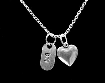 Best Friend Gift, Best Friend Necklace, BFF Heart, Friends Forever, Sisters Gift Necklace