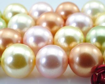 39 pcs of solid color Shell Pearl smooth round beads in 10mm