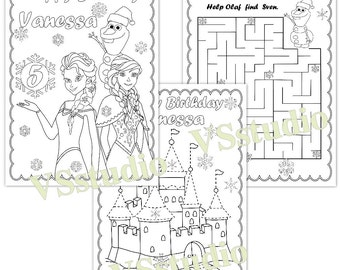 Frozen Birthday Party coloring pages, PDF file