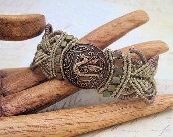 Celtic Dragon Macrame Bracelet - Beaded Macrame - Fantasy - Mythical - Mystical Creatures - Macrame Jewelry