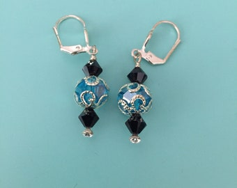 Turquoise Earrings / Black Earrings / Silver Earrings/ Bridal Earrings / Boho Earrings / Statement Earrings / Bridesmaid Gift/ Gift for Her
