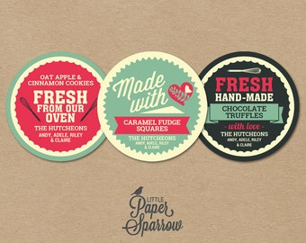 EDITABLE Handmade With Love Labels - INSTANT DOWNLOAD - Printable Food/Baking Gift Labels - Vintage Style - 2.5 Inch - Handmade Gifts