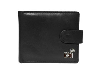 Retro camera black leather wallet
