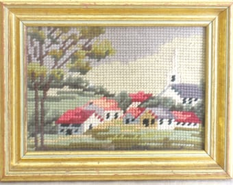 Vintage Summer Landscape Framed Needlepoint, Church, Cottages in the Country, Trees, Houses, Building, Handmade, Embroidery, Hand Sewn, Art