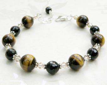 Tigers Eye Bracelet, Stone Bracelet, Black Onyx, Brown and Black Bracelet, Sterling Silver, Autumn Bracelet, Beaded Fall Wedding Jewelry