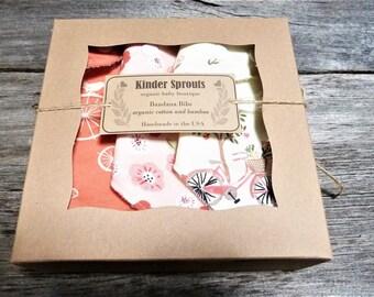 Organic bandana bib, Baby girl bicycle gift,  bicycle baby clothes, Forest baby, Baby gift set,Girl bandana bib, girl drool bib, modern bibs