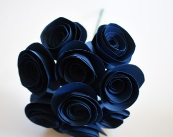 Wedding Bouquet, Navy Blue Paper Flowers with Stems, Paper Flower Bouquet, Paper Roses