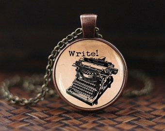 Old Typewriter necklace, Vintage Typewriter pendant, Old Typewriter jewelry, Writer necklace, gift for Writer, glass dome pendant