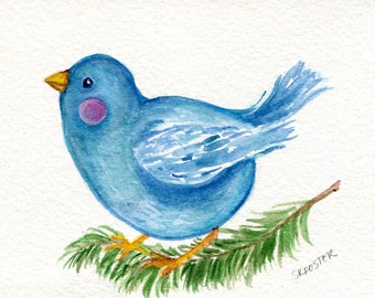 Blue bird  watercolor painting original, Happy Bird painting 4 x 6 original bird art, bird on branch, OOAK
