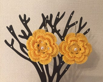 Girls crochet flower earrings