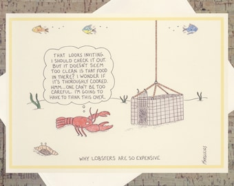 Food Lover Card, Funny Foodie Card, Funny Card, Humor Card, Quirky Card, Handmade All Occasion Card, Lobster Card, Cartoon Card