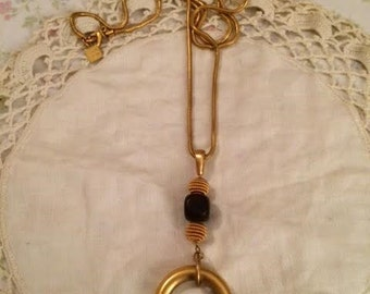 Vintage Anne Klein Gold Bead Hoop Designer Necklace