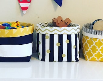 Fabric Storage Bins / Storage boxes / Toy storage / Playroom / House Warming / Diaper caddy/ New Home Gift / Nappy Storage / Diaper Storage