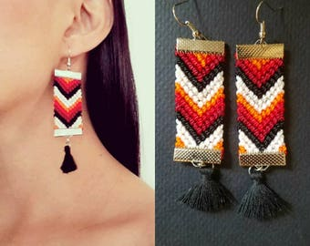 Woven earrings, festival earrings, bohemian earrings, tribal earrings, ethnic earrings, huichol earrings, ethnic earring