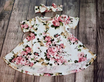 6-9  Months Mauve Floral on Ivory Short Sleeve Tshirt Dress w Headband