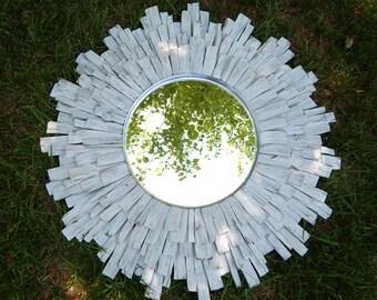 Original Whitewashed Live Edge Walnut Wood Sunburst Mirror MADE to ORDER