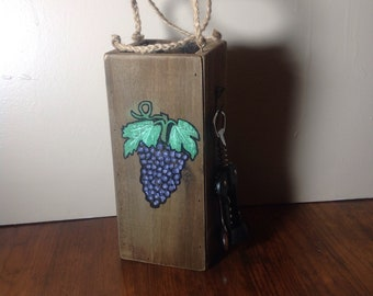 """Rustic Wine Holder With Opener """"Grapes Edition""""."""