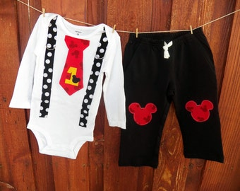 Mickey Mouse Birthday Tie and Suspender Bodysuit with Pants Baby Boy First Birthday Clothing Birthday Party Little Man Tie Outfit