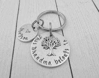 This Grandma belongs to - Personalized Custom Hand Stamped Keychain - Grandma Gift - Gift for Grandmother - Grandma Key Chain - kg3
