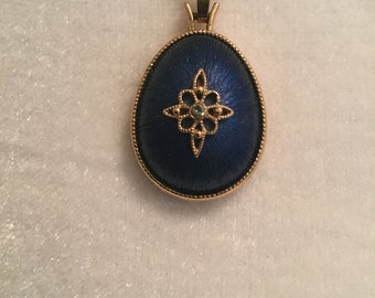 Vintage avon Beautiful Blue Silk Thread Wrapped Filigree Pendant and Gold Tone Chain