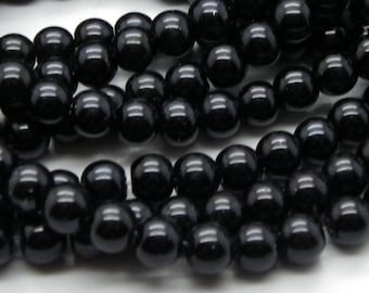 100 8 mm glass beads 8 mm a beautiful shiny black