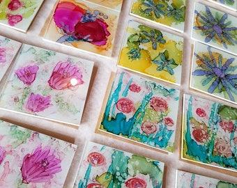 Hand Painted Glass Coasters - custom orders.