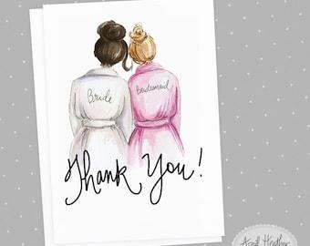 Thank you! Bridesmaid PDF Dark Brunette Bun Bride and Dark Blonde Bun Bridesmaid, Thank you card PDF printable card