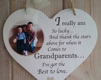 Grandparents Hanging Heart Personalised Photo Plaque