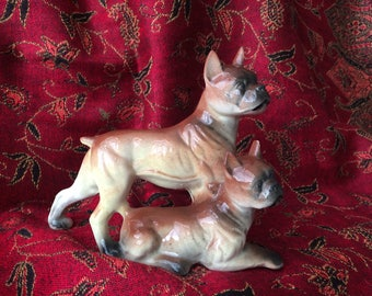 Vintage WALES ceramic boxer dogs figurine made in Japan