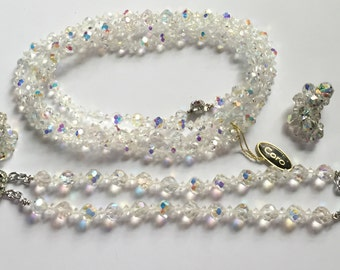 Vintage Coro Parure Set, Coro Jewelry Set, Aurora Borealis Coro Jewelry, Vintage Aurora Borealis Necklace, AB Bracelet, Clip Earrings,3 pcs