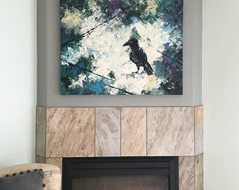 Bird painting, Large canvas, 40x30, Original art, Bird art