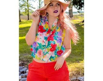 Vintage Floral Sleeveless Blouse, Flower Blouse, Hawaiian Top, Hawaiian Blouse, Boho Top, Boho Shirt, Boho Clothing, Floral Crop Top