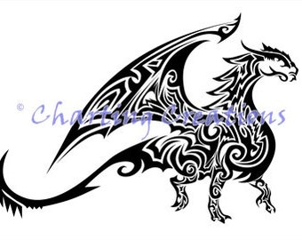 Tribal Dragon Counted Cross Stitch Pattern