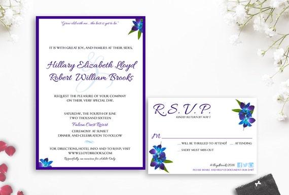 Blue Orchid Wedding Invitations: Items Similar To Dendrobium Orchid Wedding Invitation