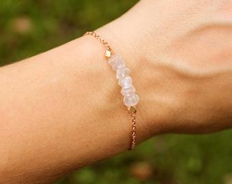 Rose Quartz and Rose Gold Bracelet - Minimalist Jewelry - Pink and Rose Gold Bracelet