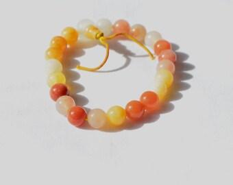Vintage Natural Red Orange Yellow White Jade Jadeite Bead Stretchy Bracelet