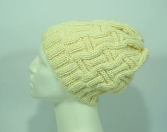Knit beanie hat, cream knit beanie, Knitted hat in merino wool, alpaca and acrylic, winter knitted hat, slouchy hat