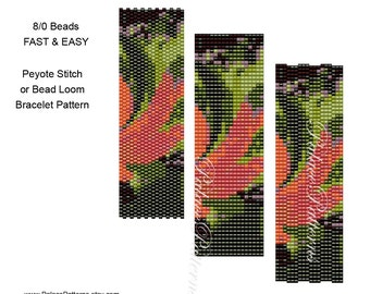 Beadweaving Bracelet Pattern 20 - Size 8/0 Seed Beads - 3 Drop Peyote Stitch, Peyote Stitch and Bead Loom - Fast and Easy - Pattern 20 8Bead