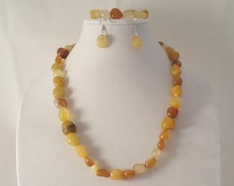 Yellow Stone Jewelry - Yellow Stone Bracelet - Yellow Stone Necklace - Yellow Stone Earrings - Yellow Stone - Stone Jewelry Set -Jewelry Set