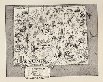 50's WYOMING Picture Map of Wyoming State Map Print Gallery Wall Art Wyoming Pictorial Map Map Collector Gift For Traveler Birthday Wedding