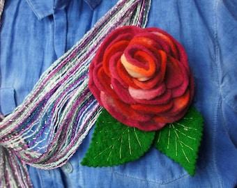 SALE 20% Felt Rose Brooch, Rose Brooch, Felt Brooch Pin, Wool Rose Brooch, Felt Flower Brooch, Wool Flower Brooch, Felt Flower Felt Rose Pin