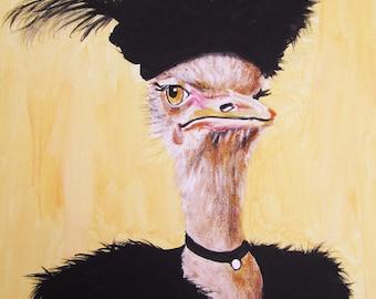 Digital Print Illustration Print Art Poster Acrylic Painting Kids Decor Drawing Illustration Gift : Classy Ostrich