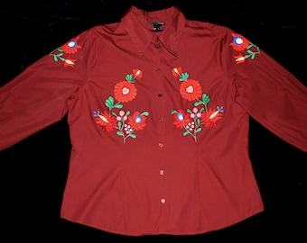 New Hungarian Matyo Floral Embroidered Claret Red Women Blouse Size L / EU 44 / UK 16
