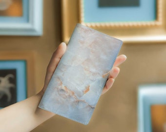 Marble Print Leather Wallet Leather Card Wallet Personalized Leather Wallet Mens Leather Wallet Leather Travel Wallet Marble Purse YG1013