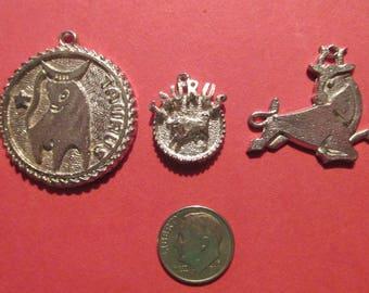 Three Pewter Taurus Zodiac Pendants