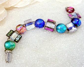 Fused Glass Link Bracelet, Dichroic Glass Bracelet in Shimmering High Energy Colors, Blue, Green, Pink, Gold, Rose Gold, Denim, Silver