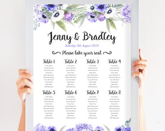 Anemone Lilac Purple Floral Table Plan, Personalized Wedding Seating Chart, Seating Arrangements, A2 Size